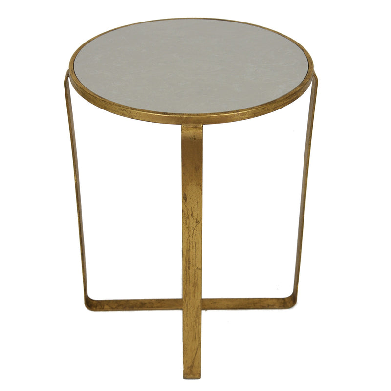 Dona Gold Leaf Stone Top Side Table - Lillian Home