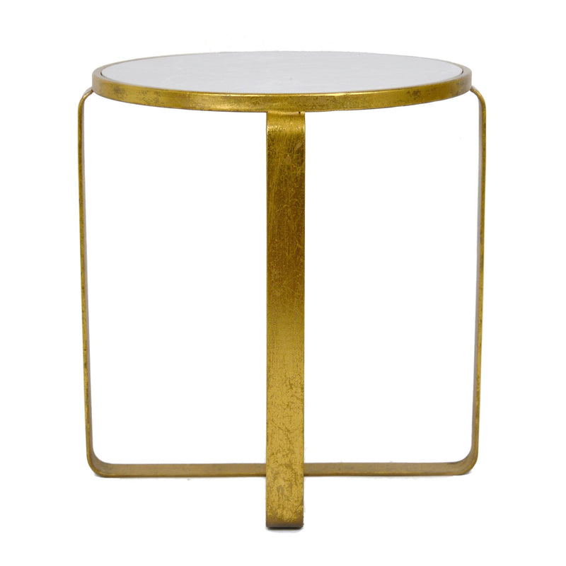 Eve Gold Leaf Stone Top Side Table - Lillian Home