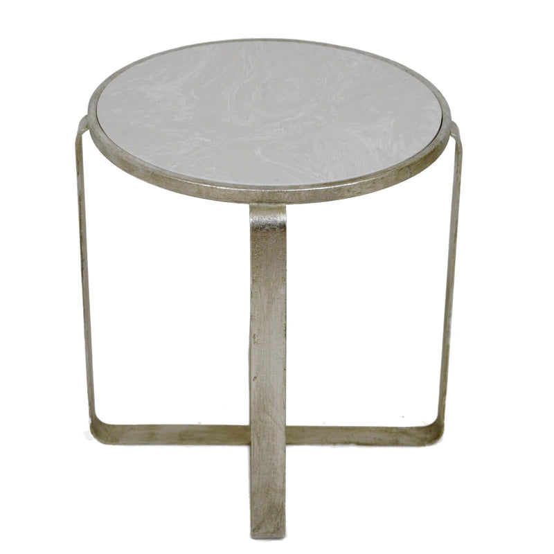 Eve Silver Leaf Stone Top Side Table - Lillian Home