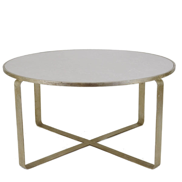 Donnas Silver Leaf Stone Top Coffee Table