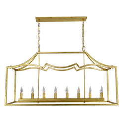 Veera 8 Light Gold Rectangular Lighting- Lillian Home