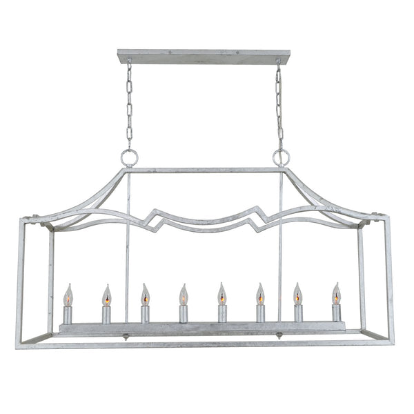 Veera 8 Light Silver Rectangular Lighting- Lillian Home