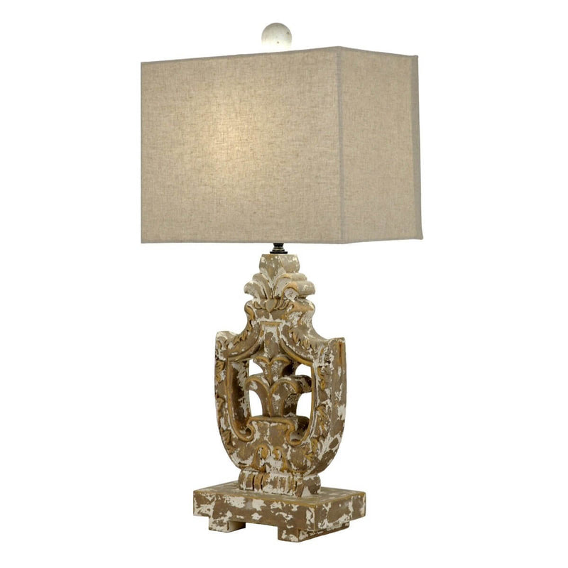 Hugo Carved Wood Table Lamp | Lillian Home | Buy Now