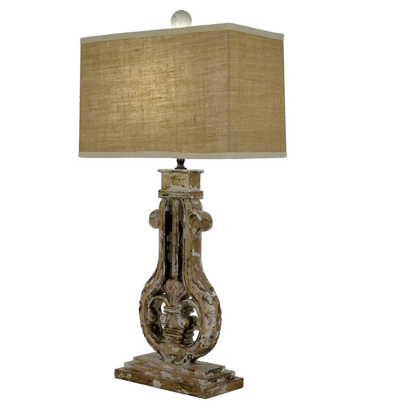 Bruno Carved Wood Table Lamp | Lillian Home | Buy Now