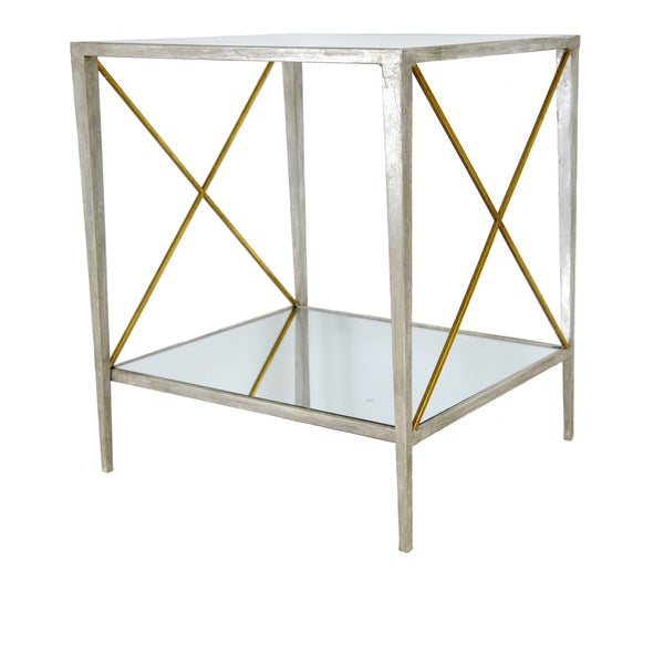 Gemma Silver Leaf Side Table with 2 Shelves - Lillian Home