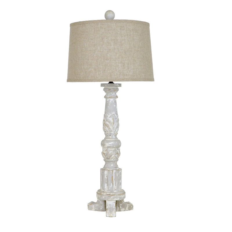 Lillian Home Mario Carved Wood Table Lamp