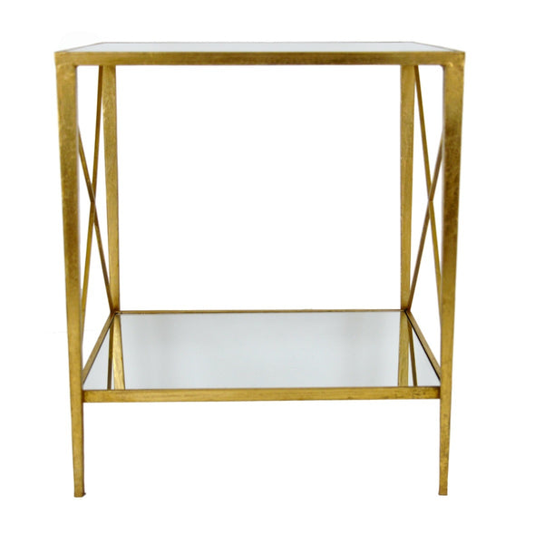 Gemma Gold Leaf Side Table with 2 Shelves - Lillian Home