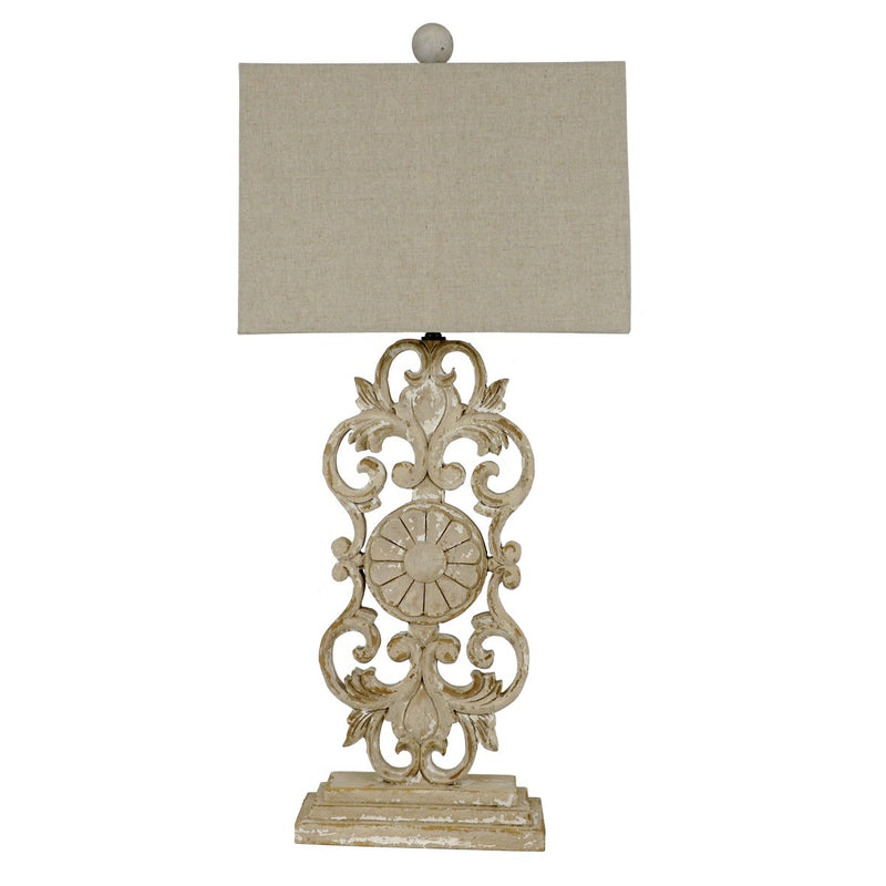 Elora Carved Wood Table Lamp | Lillian Home | Shop Now