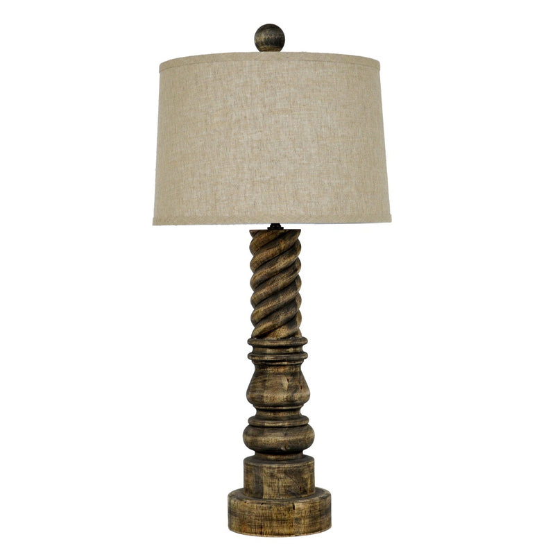 Lillian Home Magnolia Carved Wood Table Lamp