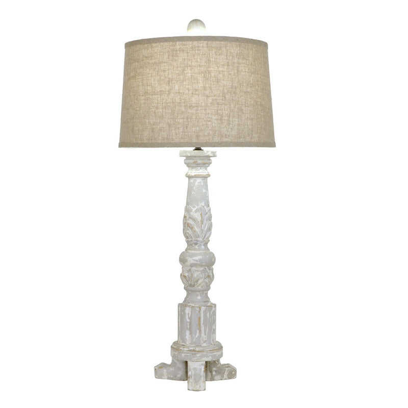 Mario Carved Wood Table Lamp - Lillian Home