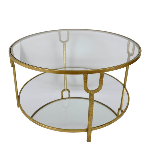 Khloe Gold Leaf 2 Shelves Round Coffee Table
