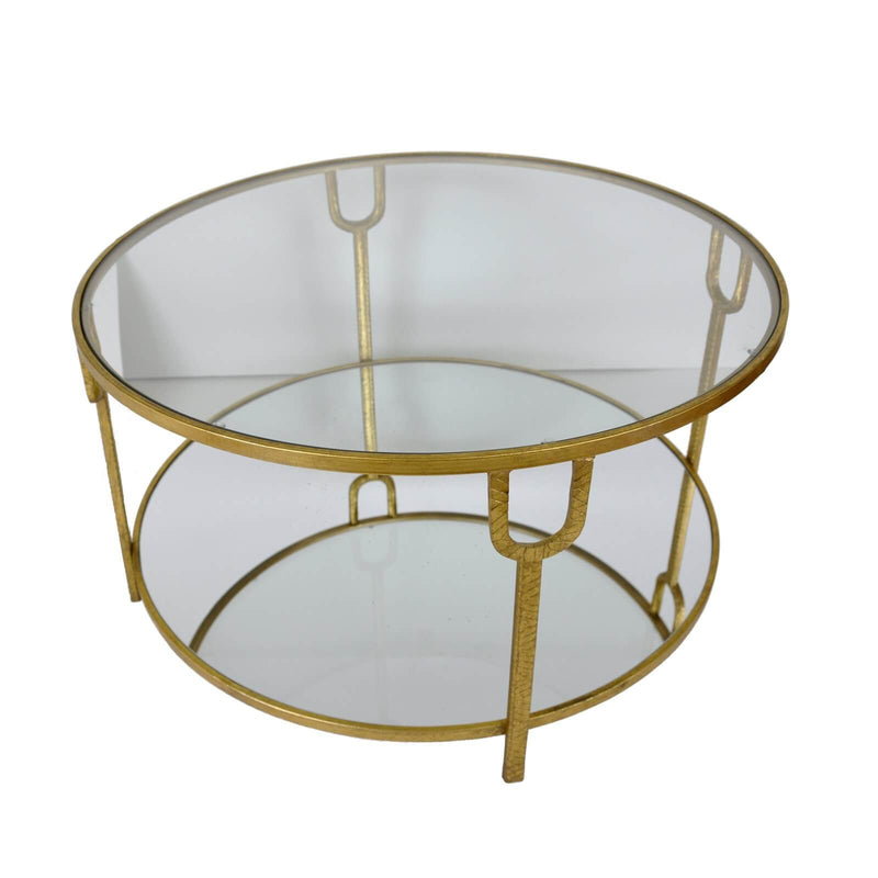 Khloe Gold Leaf 2 Shelves Round Coffee Table - Lillian Home