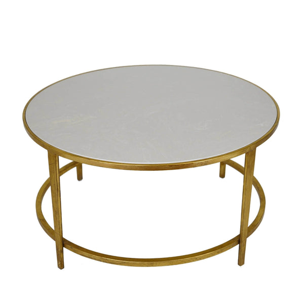 Augustine Stone Top Gold Round Coffee Table - Lillian Home