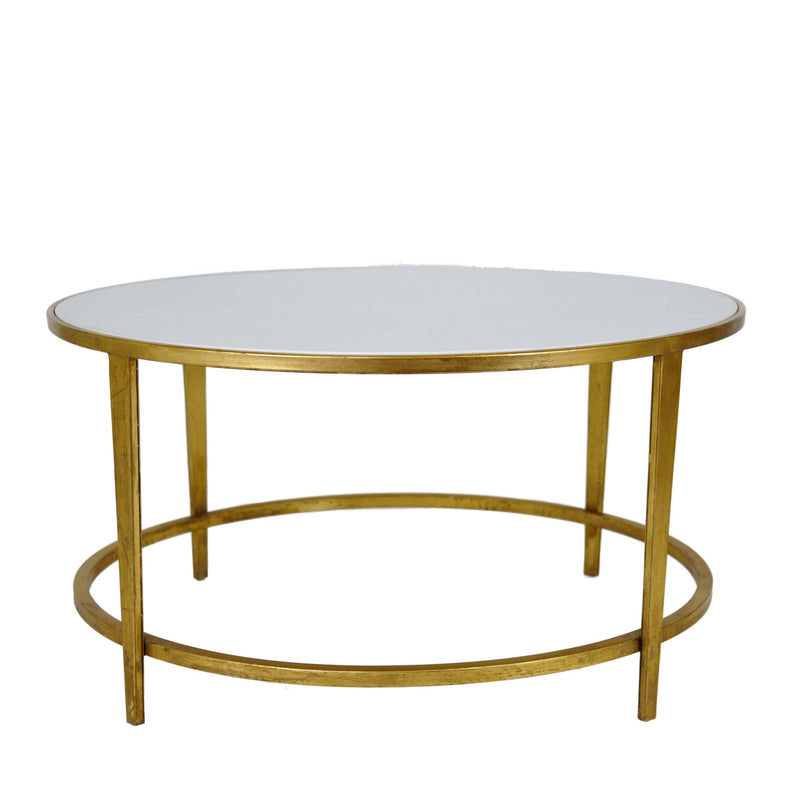 Augustine Stone Top Gold Leaf Round Coffee Table