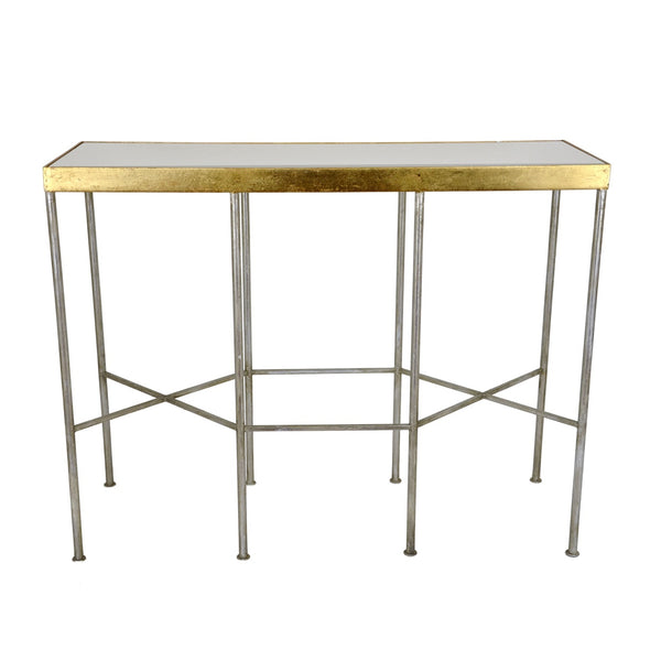 Designer silver and gold console table with white marble top