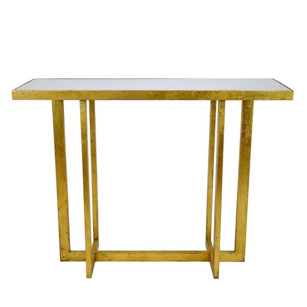 Designer Gold Leaf Console Table with White Marble Top, Upscale Transitional Home Decor