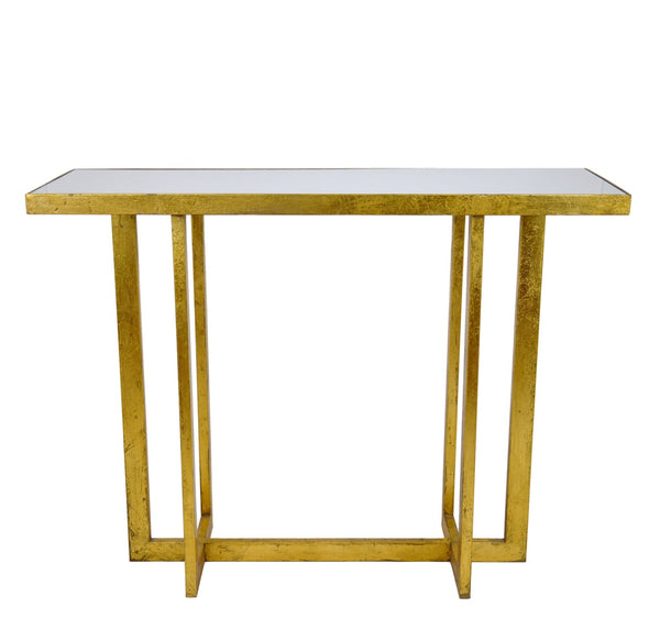 Lala Gold Leaf Stone Top Console Table - Lillian Home