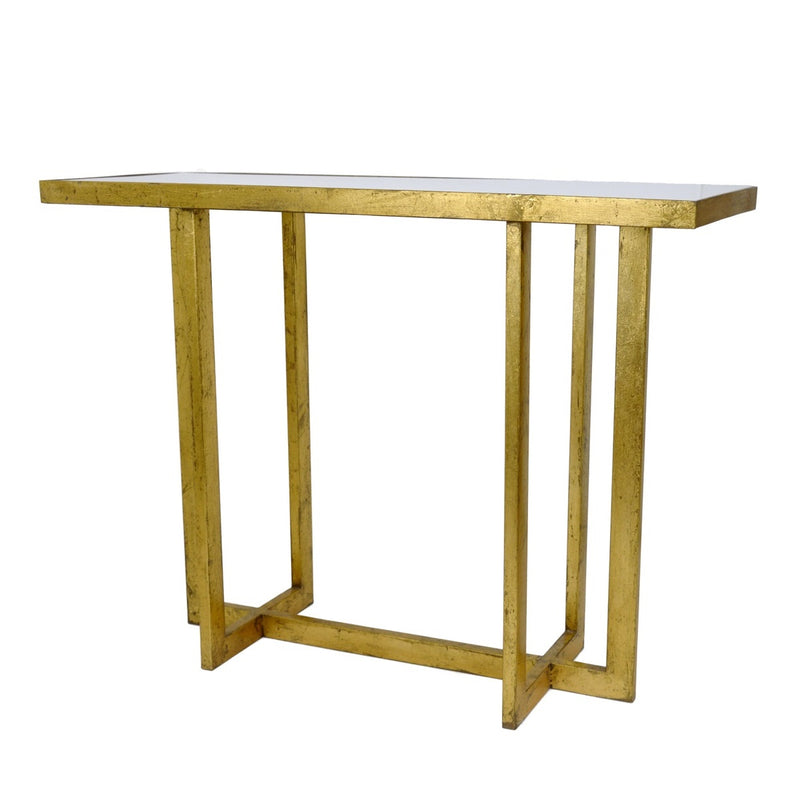 Lala Gold Leaf Stone Top Console Table