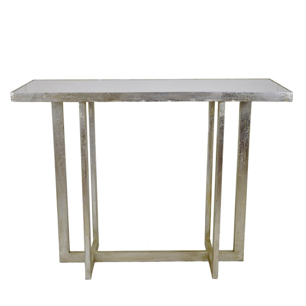 Lala Silver Leaf Stone Top Console Table