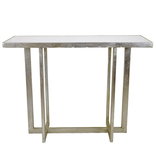 Transitional Look Silver Leaf Console Table with White Marble Top