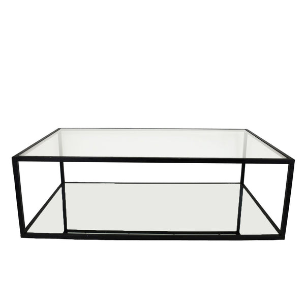 Emily 2 Shelves Black Coffee Table - Lillian Home
