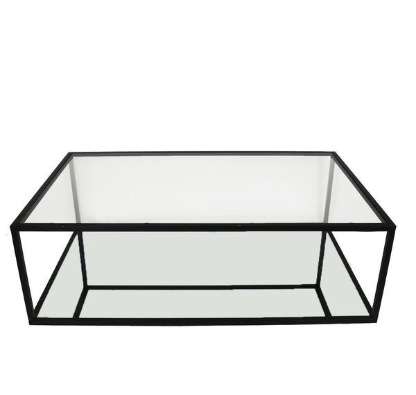 Emily Rectangular 2 Shelves Black Leaf Coffee Table