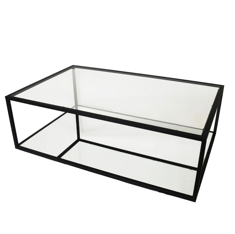 Emily Rectangular 2 Shelves Black Coffee Table - Lillian Home
