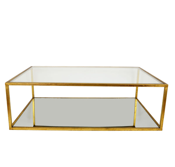 Emily Rectangular 2 Shelves Gold Leaf Coffee Table - Lillian Home