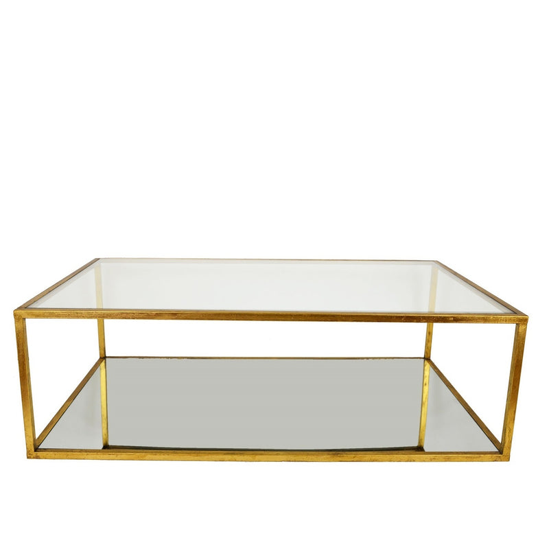 Emily Rectangular 2 Shelves Gold Leaf Coffee Table