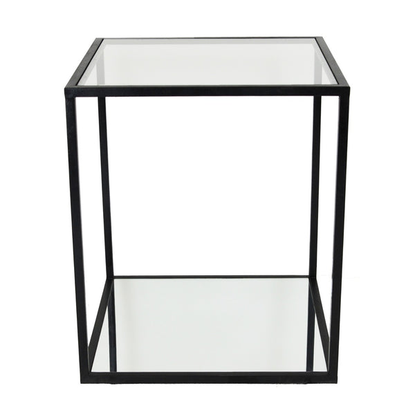 Emily 2 Shelves Black Side Table - Lillian Home