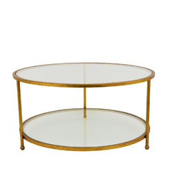 Lilia Gold Leaf Round 2 Shelves Coffee Table