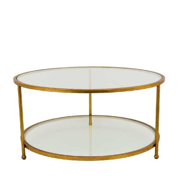Lilia Gold 2 Shelves Round Coffee Table - Lillian Home