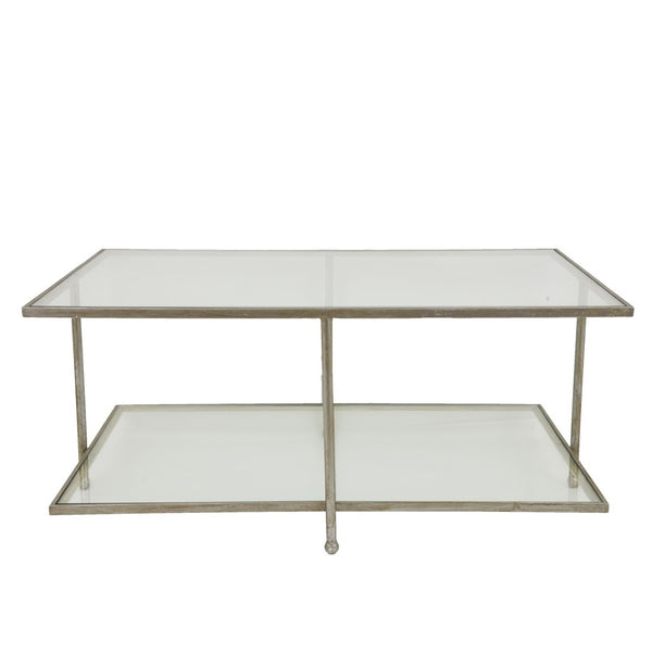 Romana Silver Leaf 2 Shelves Coffee Table - Lillian Home