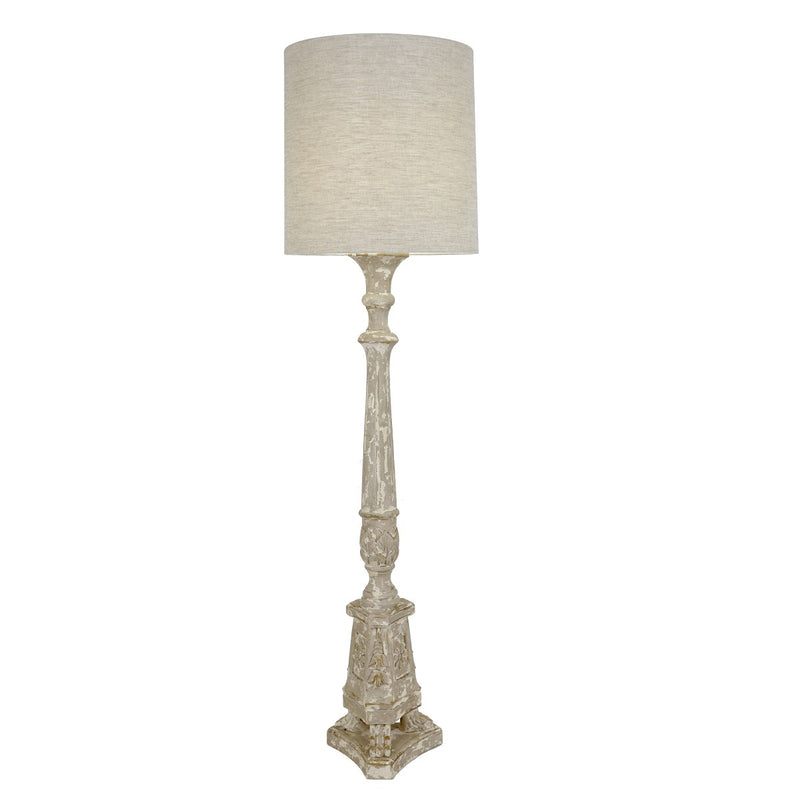 Remy Carved Wood Floor Lamp - Lillian Home
