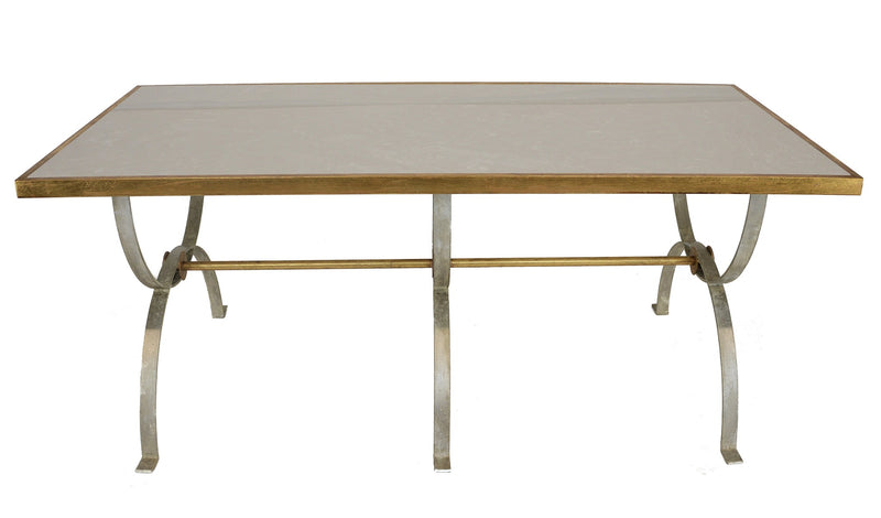 Castle Silver Leaf Dining Table with Gold - Lillian Home