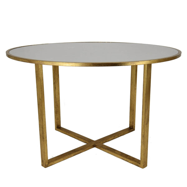 Queen Gold Leaf Stone Top Round Dining Table