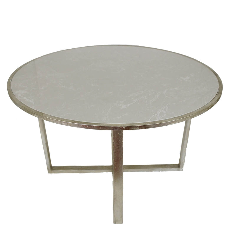 Queen Silver Leaf Stone Top Dining Table
