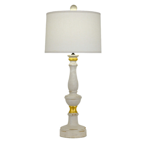 Lucian Solid Wood White Table Lamp - Lillian Home