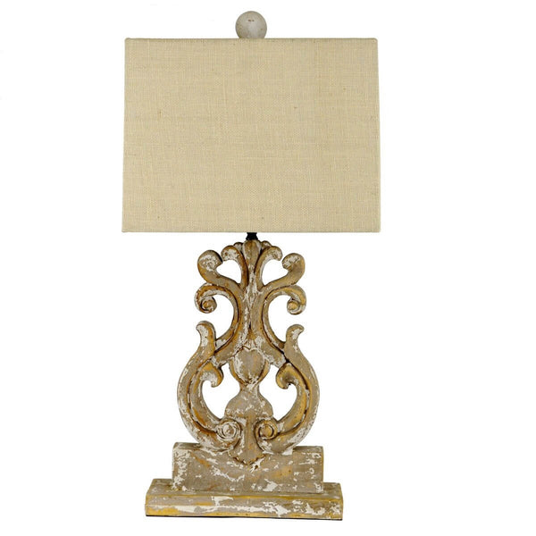 Serena Carved Wood Table Lamp - Lillian Home