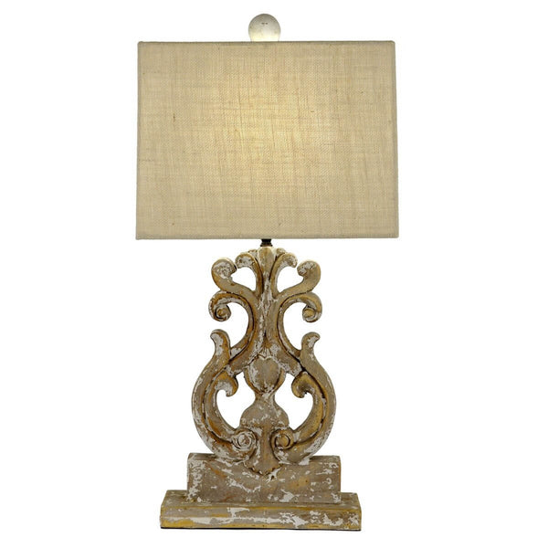 Seren Carved Wood Table Lamp - Lillian Home