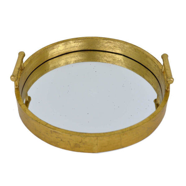 Perla Gold Leaf Round Mirrored Tray - Lillian Home