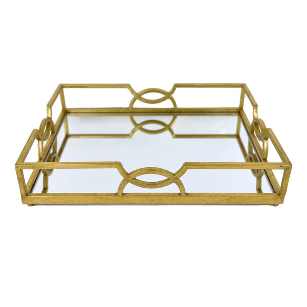 Holliday Gold Rectangular Mirrored Tray - Lillian Home
