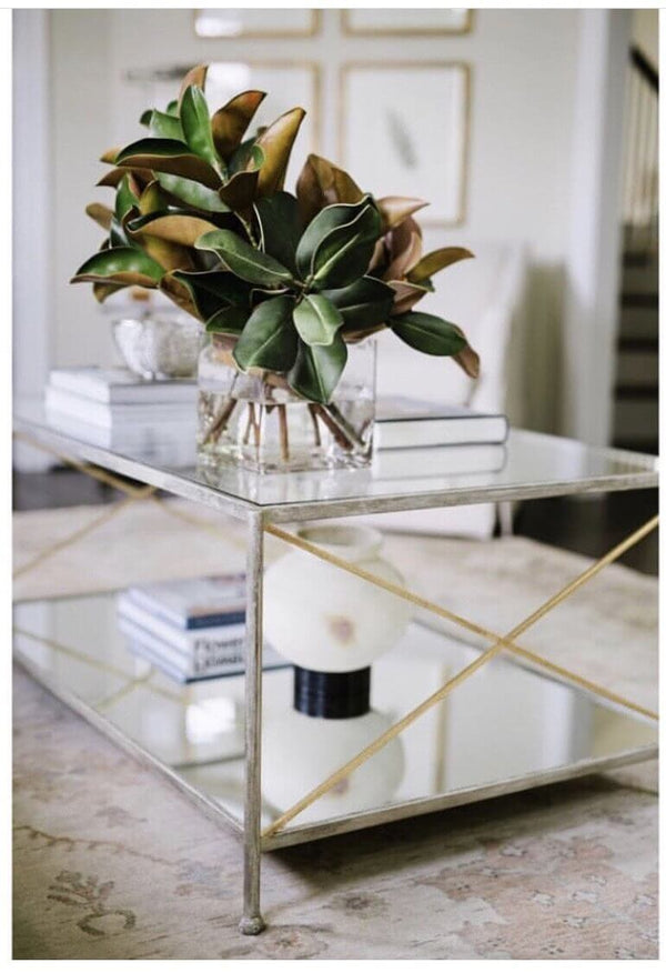 Iris Silver Leaf 2 Shelves Coffee Table - Lillian Home