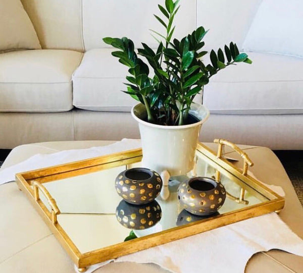 Fancy Gold Leaf Tray with Mirror Bottom