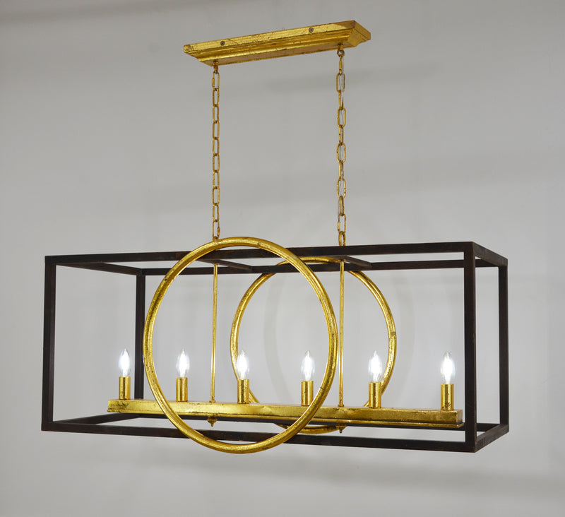 Penela 6 Light Brown and Gold Kitchen Island Light - Lillian Home