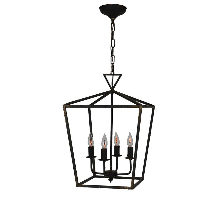 Dana 4 Light Black Pendant Lantern