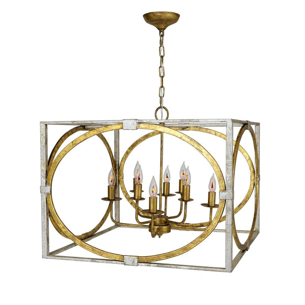 Byzantine 8 Light Silver and Gold Lantern - Lillian Home