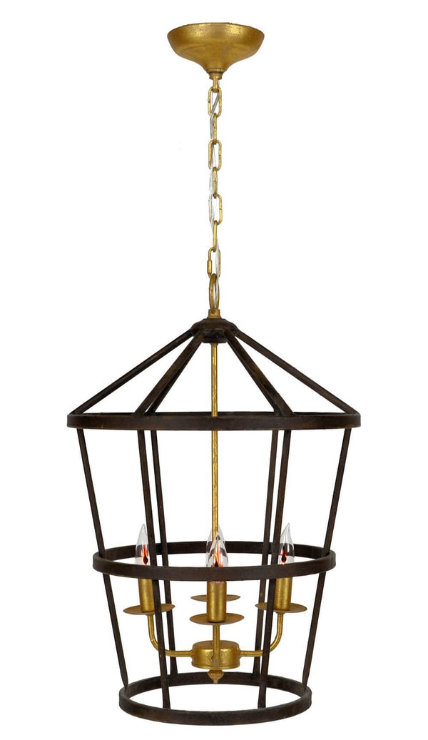 Arman 4 Light Brown and Gold Pendant Lantern