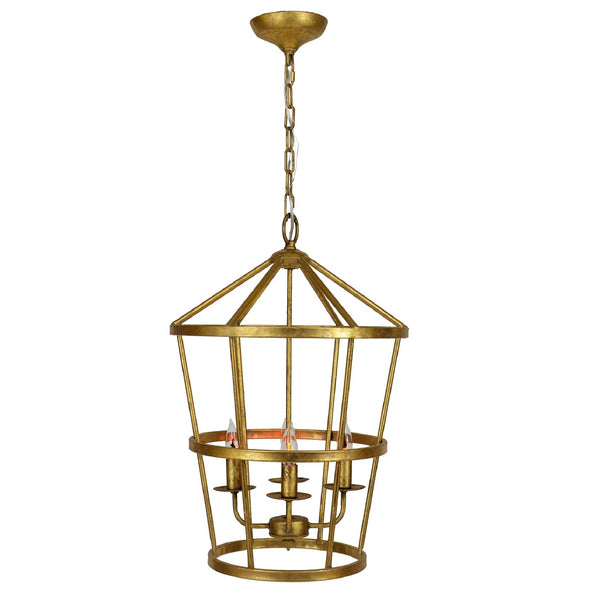 Arman 4 Light Gold Leaf Pendant Lantern