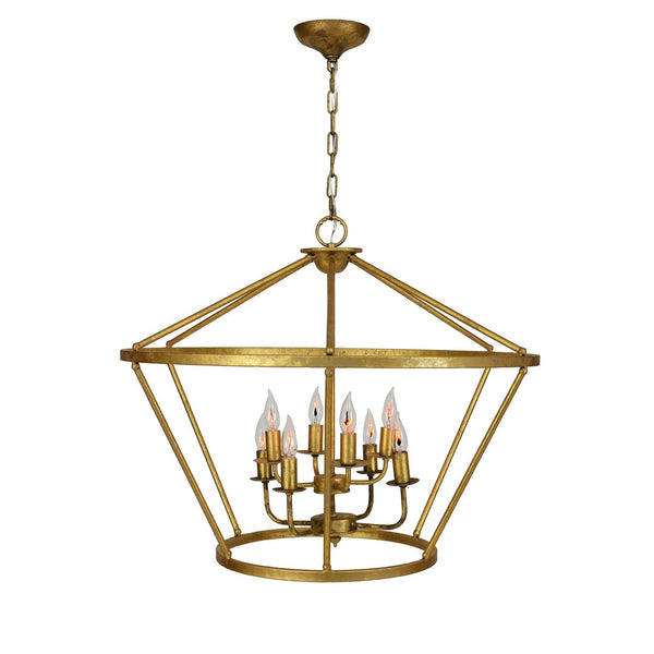 Gold Leaf Metal Hanging Light Chandelier